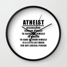 FUNNY ATHEIST LOGIC ANTI - RELIGIOUS - Black Wall Clock