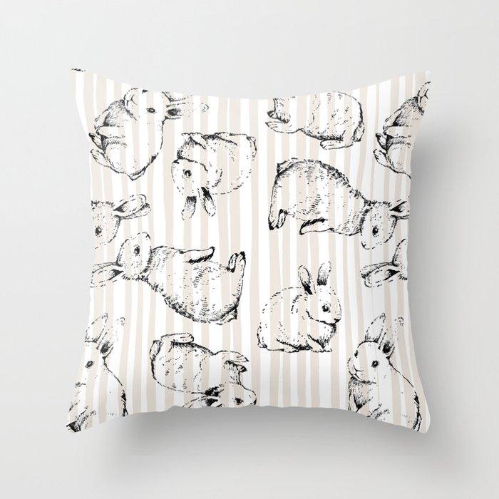 Vintage Bunnies Throw Pillow