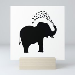 Elephant and butterfly spray Mini Art Print