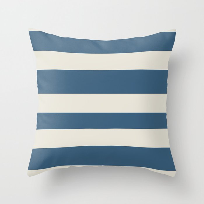 Dark Blue & Linen White Wide Hand Drawn Line Pattern - 2020 Color of the Year Chinese Porcelain Throw Pillow