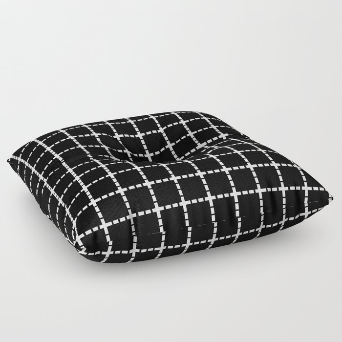 Dotted Grid Black Large Floor Pillow by projectm Society6