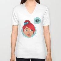 redhead V-neck T-shirts featuring redhead bla by adi katz