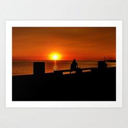 Romantic Coastal Urban Scene, Montevideo, Uruguay Art Print