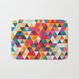 Vintage Summer Color Palette - Hipster Geometric Triangle Pattern Bath Mat