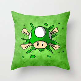 1-Up Mushroom Crossbones Throw Pillow