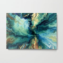 Marbled Ocean Abstract, Navy, Blue, Teal, Green Metal Print