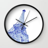 eiffel tower Wall Clocks featuring Eiffel Tower by BlueShadowM