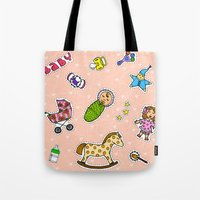 stickers Tote Bags featuring For Mommy stickers by Lisidza's art