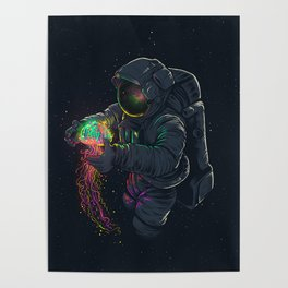 astronaut jellyfish space digital art Poster