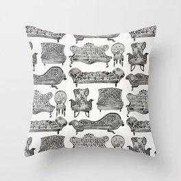 Victorian Lounge – Black Palette Throw Pillow