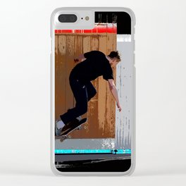 Climbing the Wall - Skateboarder Clear iPhone Case