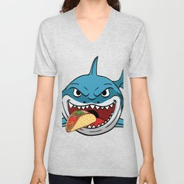 "Perfect Gift For Any Tacos Lovers Or For Those Who Have Big Appetite ""Shark Eating Tacos"" T-shirt Unisex V-Neck"