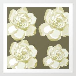 Gray,White Rose background Art Print