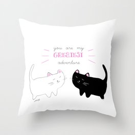 white cat - black cat moonrise kingdom quote Throw Pillow