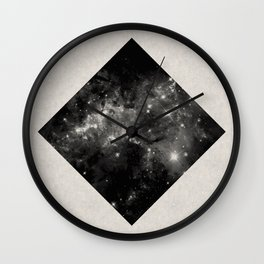 Space Diamond - Abstract, geometric space scene in black and white Wall Clock