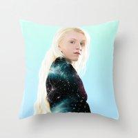 luna lovegood Throw Pillows featuring Luna Lovegood  by kelsey cooke art