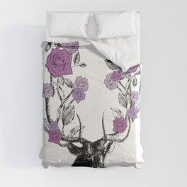 The Stag and Roses | Deer and Flowers | Purple | Vintage Stag | Vintage Deer | Antlers | Woodland | Comforters
