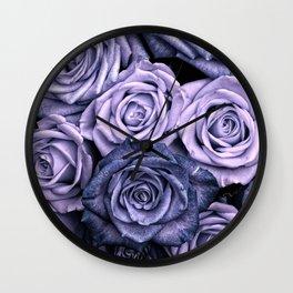 PURPLE ROSES floral flowers violet Wall Clock