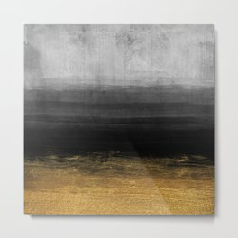 Black and Gold grunge stripes on modern grey concrete abstract background - Stripe -Striped Metal Print
