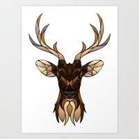 Deer Fragments Lined Art Print