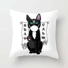 Black cat in mask Throw Pillow
