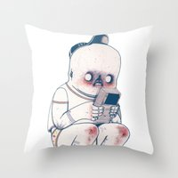 gameboy Throw Pillows featuring GAMEBOY BOY by Morbix