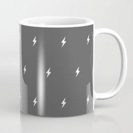 White Lightning Bolt pattern on Dark Grey background Coffee Mug
