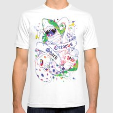 Shark vs Octopus Mens Fitted Tee LARGE White