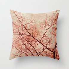 Tree In Red Throw Pillow
