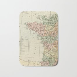 Old Map of the West of France Bath Mat