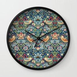Victorian Textile Design - William Morris The Strawberry Thief 1862 Bird Pattern Wall Clock