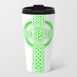 St Patrick's Day Celtic Cross Green and White Travel Mug