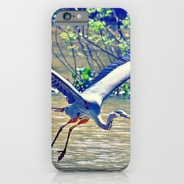 Flying (Blue Heron) iPhone Case