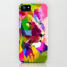 Colorful Lion Head (Illustration) iPhone Case