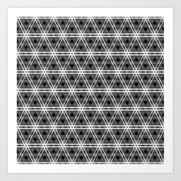 Black and White Egyptian Triangle Pyramid Check Art Print