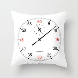 Stop Watch Face Throw Pillow