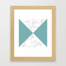 diagonal tiles marble green pattern Framed Art Print