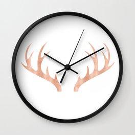 Antlers Rose Gold Deer Antlers Wall Clock