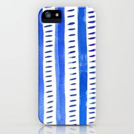 Watercolor lines - blue iPhone Case