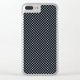 Black and Dusty Blue Polka Dots Clear iPhone Case