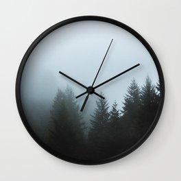 Misty Fog Pine Trees Wall Clock