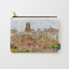 Aquarelle sketch art. Aerial scenic view of Rome, Italy. Scenery of Roma city. Carry-All Pouch