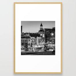 Kansas City Plaza JC Nichols Fountain at Dusk - Square - Black and White Framed Art Print