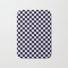 Black and Pale Lavender Violet Checkerboard Bath Mat