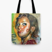 ahs Tote Bags featuring AHS Hotel-LadyGaga as Young Elizabeth by Abhivision