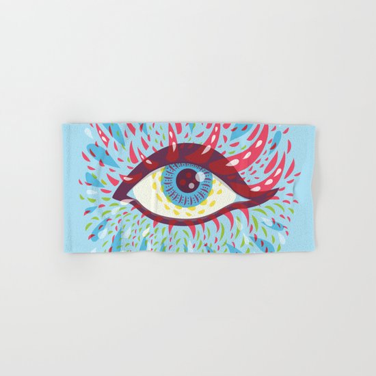 Weird Blue Psychedelic Eye Hand & Bath Towel