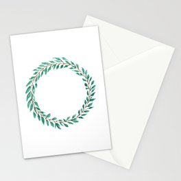Green Wreath Stationery Cards