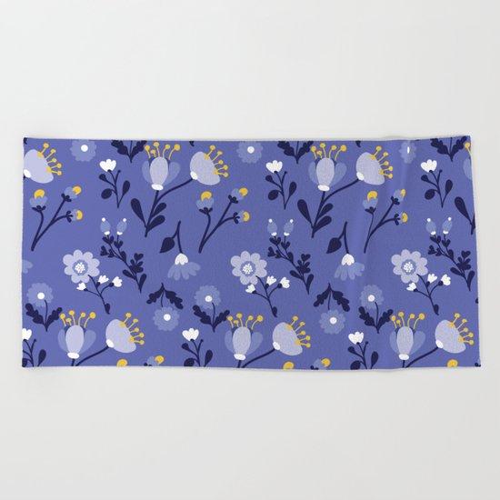 Blue Vintage Flower Pattern Beach Towel