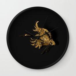 Gold Fauna on Black Wall Clock