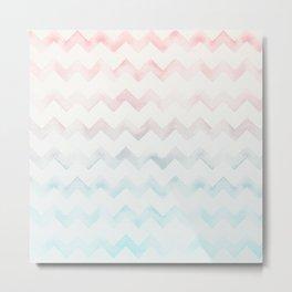 Watercolor Chevron pastel colors Metal Print